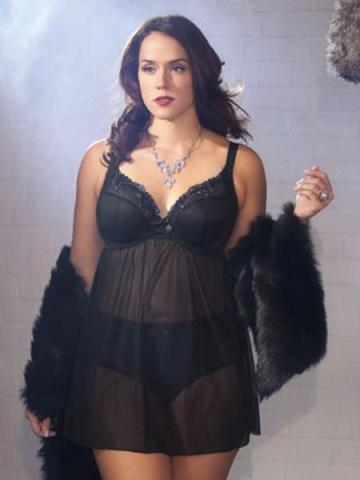 """Maggie"" Babydoll by Elomi.  Available in black, sizes 36-42 F-GG (UK).  $86.00.  Matching brief, sizes M-4XL, $24.00"