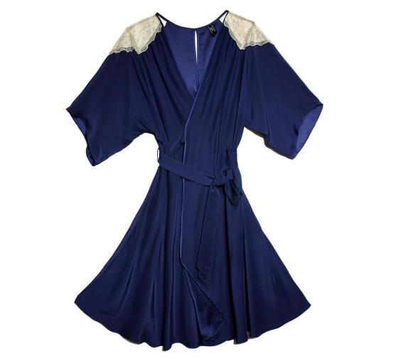 """Arabesque"" silk lace wrap robe in navy.  Layla L'obatti for Between the Sheets."