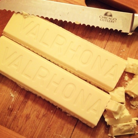 "White chocolate can be tricky to find, but you have to make sure that the only fat in the ingredient list is cocoa butter, not vegetable oil.  Don't use anything labelled ""White chocolate-flavored"", and don't use white chocolate chips.  Lindt, Baker's, and Valrhona (which I splurged on here) all make very good white chocolate."