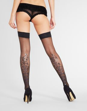 """Disco 20 Denier Sheer Holographic Hold Up"" by Figleaves Boudoir ($38.00).  Available in sizes Small, Medium, and Large."