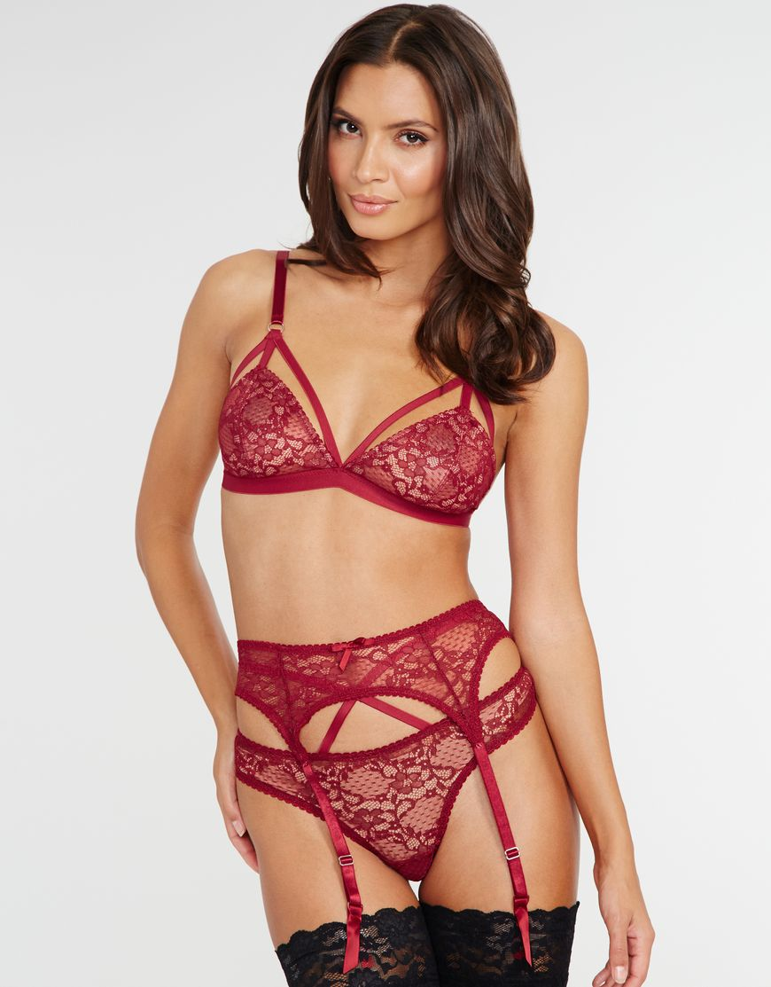 Claret satin sheen /& black lace suspender belt 8-12