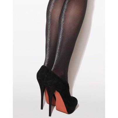 Stardust Metallic Backseam Tights by Jonathan Aston ($19.66).  Available in black/bronzer or black/silver in sizes A/B and B/C.