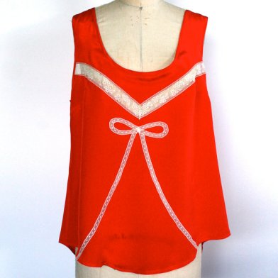 Red Deco Camisole ($200) by Honeycooler Handmade, size XXL.  Many of her pieces are made of vintage silks and materials, like this one-of-a-kind piece.