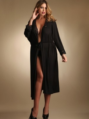 """Super Soft and Comfy Lace Trim Robe"" from Hips and Curves ($59.95).  Available in sizes 1/2X, 3/4X, 5/6X."