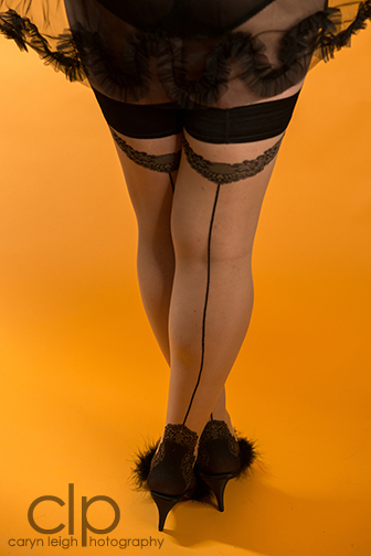 Model: Sweets, Sweet Nothings. Photographer: Caryn Leigh Photography. Peignoir: Dottie's Delights. Hold-Ups: Gaetano Cazzola. Slippers: Pleaser.