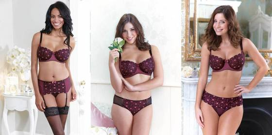 """Hearts Amour"" collection by Bravissimo.  Half cup bra (£34.00) in sizes 28-38 DD-HH, brief (£16.00), thong (£14.00), and suspender belt (£16.00) in sizes XS-2XL"
