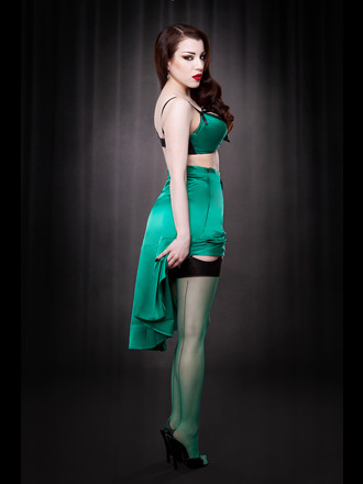 Sheer Contrast Seamed Stockings In Emerald by Kiss Me Deadly (£10.00). Available in sizes S/M, M/L, and XL.