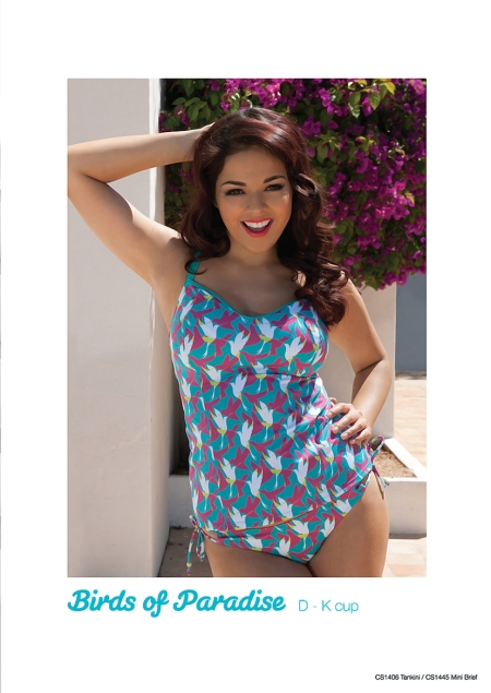 """Birds of Paradise"" Tankini by Curvy Kate (28-38 D-K UK) and Mini Brief (8-20 UK)"