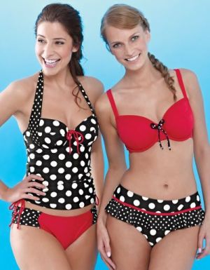 """Sienna"" Tankini (30 E-J, 32-36 DD-J, 38 DD-HH) and ""Sicily"" Bikini (30-38 DD-K) by Bravissimo.  Coordinating briefs available in sizes XS-XL."